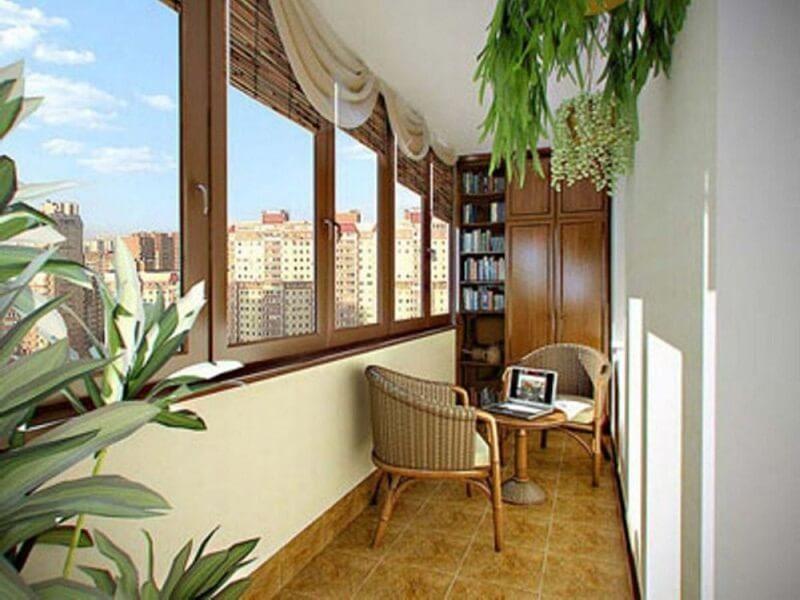 Внутренний дизайн балкона с выносом