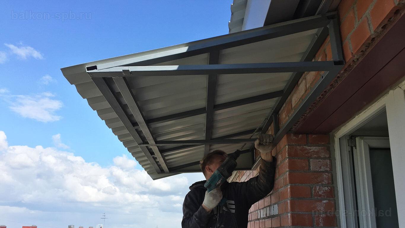 Остекление балконов с крышей - материалы и ход выполнения ра.