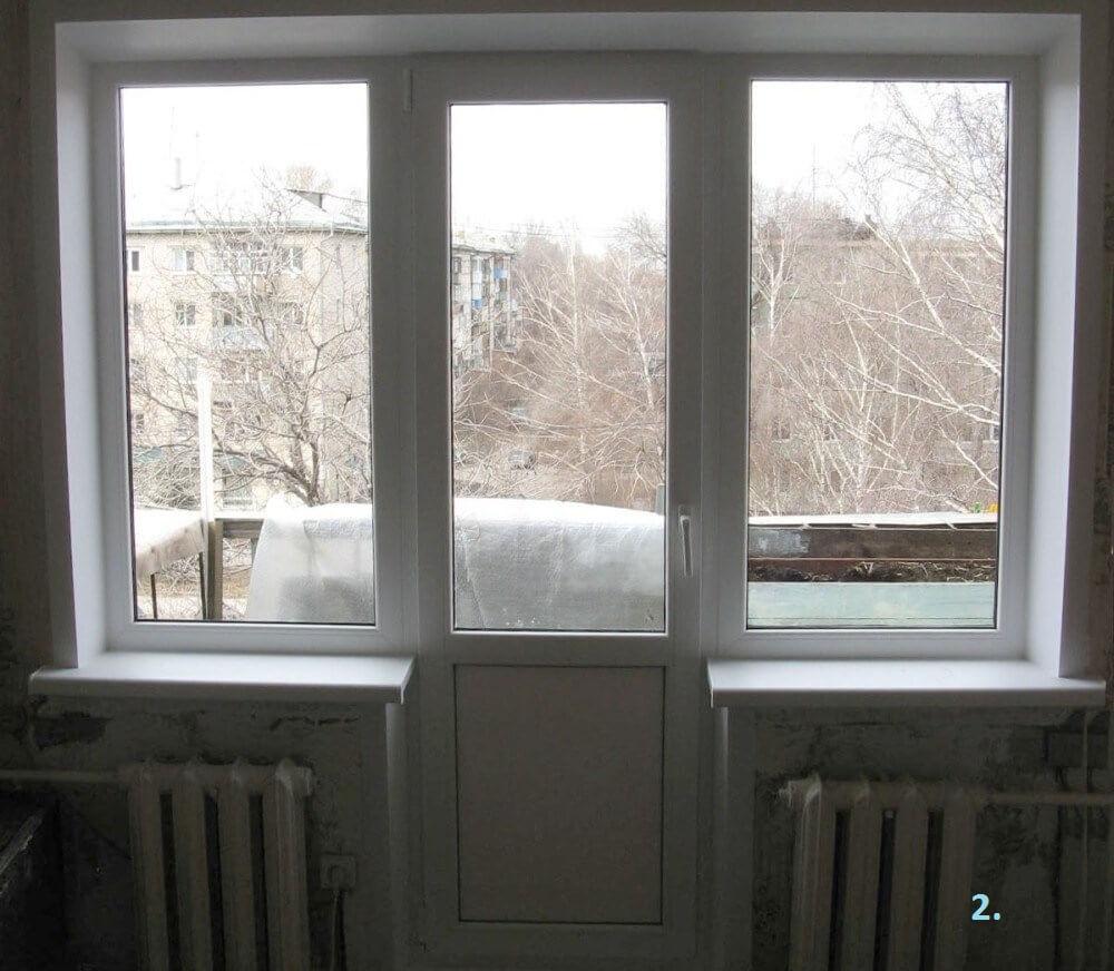 Балконная дверь в середине окна