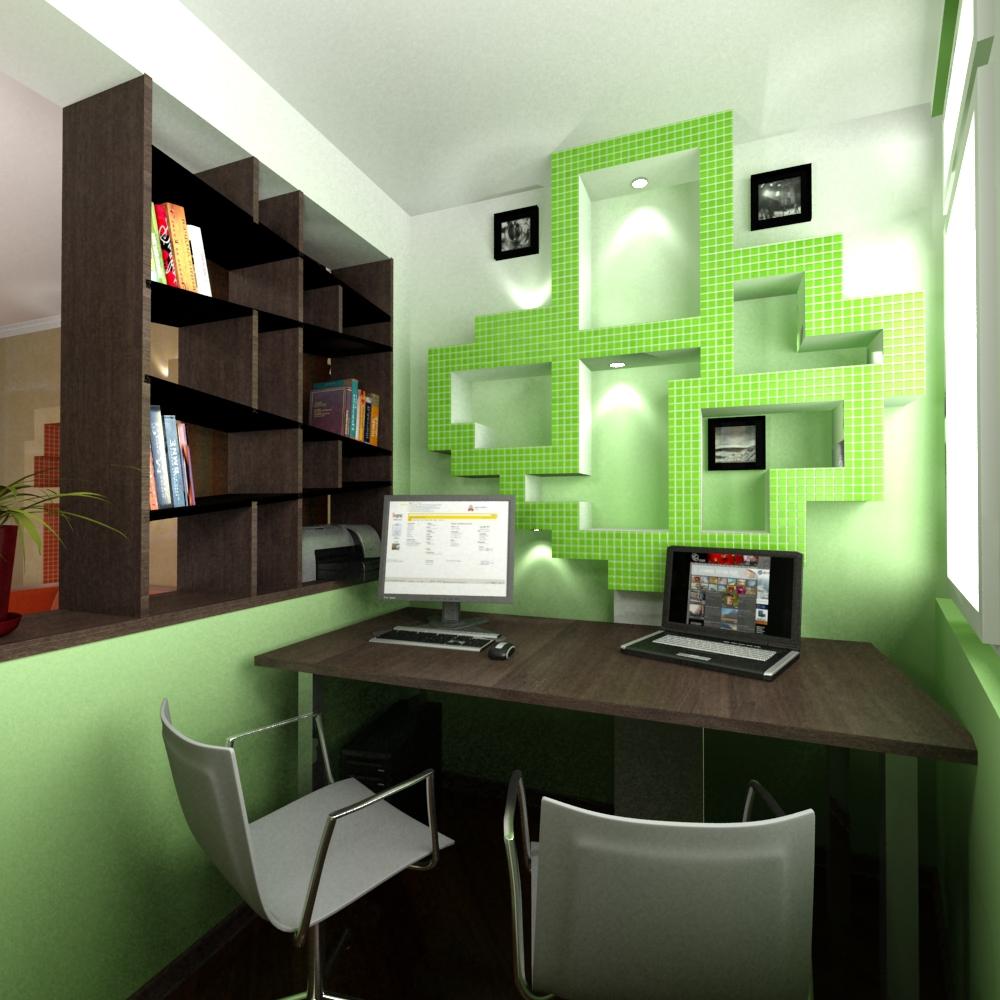 Дизайн маленького балкона под кабинет.