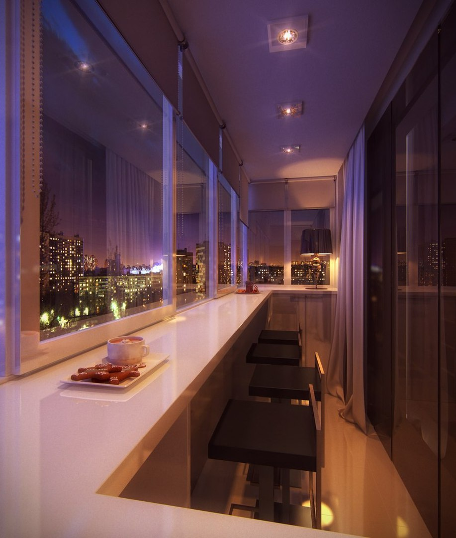 Вариант барной стойки на балконе