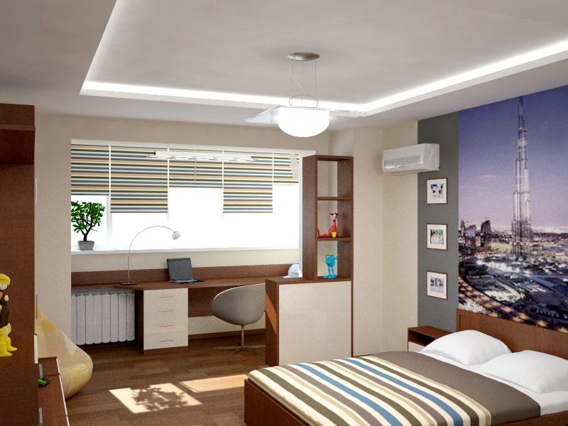Дизайн спальни 11 кв.м. совмещенной с лоджией.